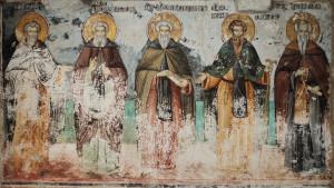 Афонские преподобные отцы. Фреска Успенском собора. Афон, Карея