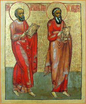 Апостолы Андрей Первозванный и Симон Кананит. Икона