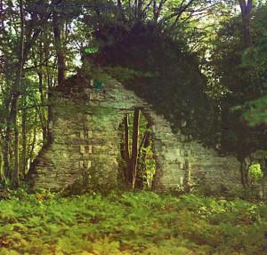 Лоо. Развалины храма в бывшем имении Шереметьева. Фотография С. М. Прокудина-Горского наглядно показывает, что в начале XX в. храм был примерно в таком же виде, что и в начале XXI в.