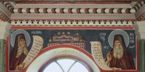 Старцы Иероним и Макарий. Современная настенная роспись. Пантелеимонов монастырь