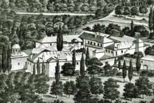 Обитель Богородицы Ксилургу. Литография XIX в.