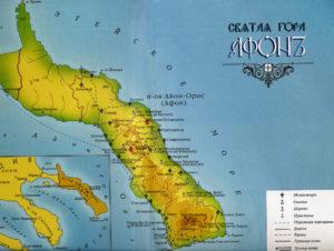 Карта Святой Горы. Красным отмечены древние обители русских монахов — Ксилургу и Старый Русик