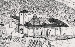 Русский Пантелеимонов монастырь в XVIII в. Рисунок В. Григоровича-Барского