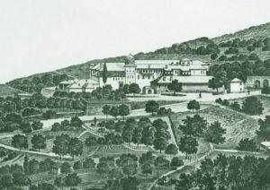 Монастырь Ксиропотам. Литография XIX в.