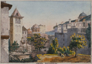 Двор Ватопеда. Литография 1835 г.