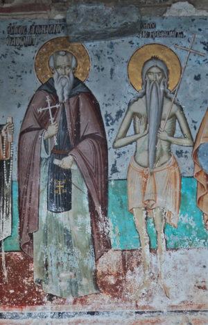 Преподобные Петр Афонский и Афанасий Афонский на фреске Успенского собора. Карея