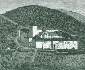 Русский монастырь в XVIII в. Литография с рисунка В. Григоровича-Барского