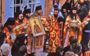 Празднование дня памяти святого Пантелеимона в Русском Пантелеимоновом монастыре