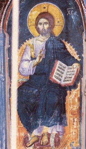 Спаситель. Фреска Мануила Панселина. Успенский собор. Карея